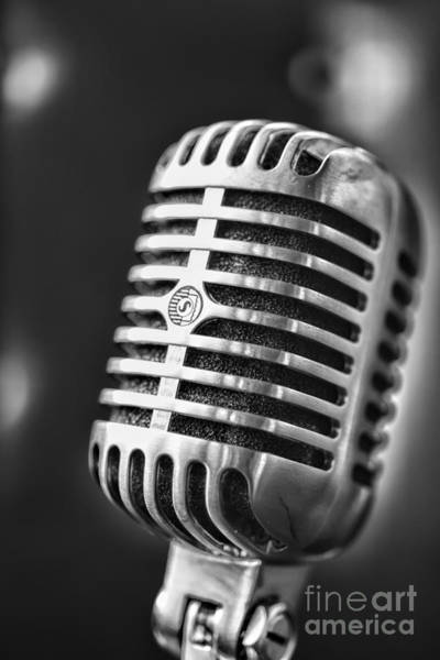Broadcaster Wall Art - Photograph - Retro Microphone In Black And White by Paul Ward