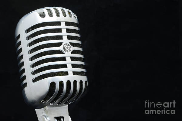 Broadcaster Wall Art - Photograph - Retro Microphone On Black by Paul Ward