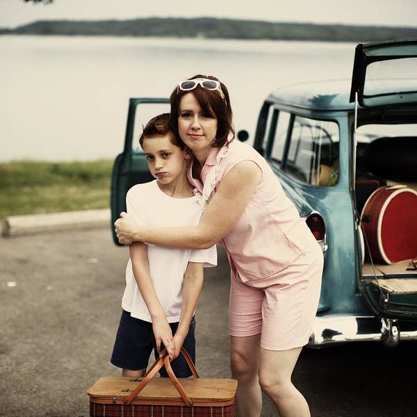 Picnic Basket Wall Art - Photograph - Retro Mom Hugging Boy Holding Picnic by Gillham Studios