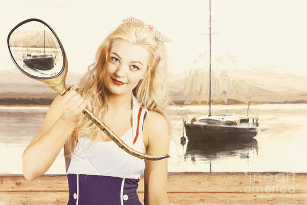 Seaside Digital Art - Retro Pin Up Sailor Woman With Nautical Periscope by Jorgo Photography - Wall Art Gallery