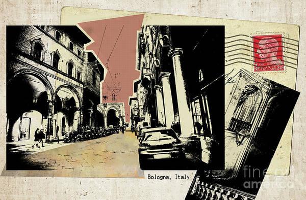 Digital Art - retro postcard of Bologna by Ariadna De Raadt