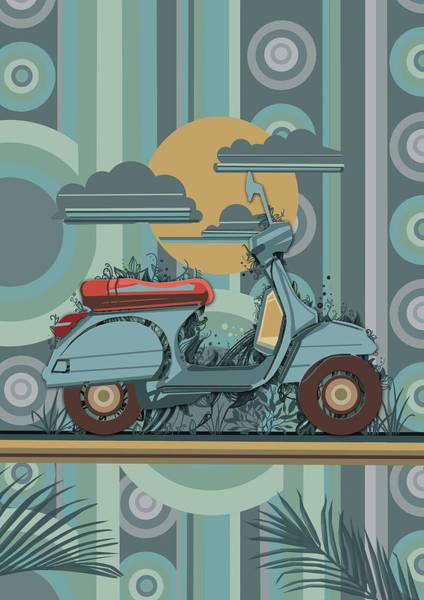 Blue Bug Digital Art - Retro Scooter 70s by Bekim Art