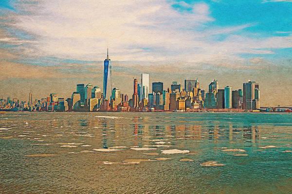 Digital Art - Retro Style Skyline Of New York City, United States by Anthony Murphy