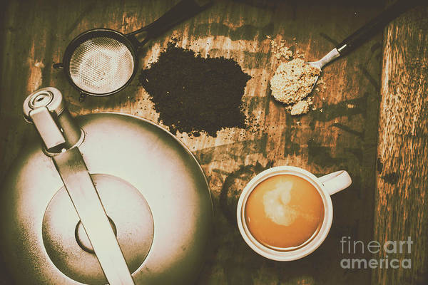 Bed Photograph - Retro Tea Background by Jorgo Photography - Wall Art Gallery