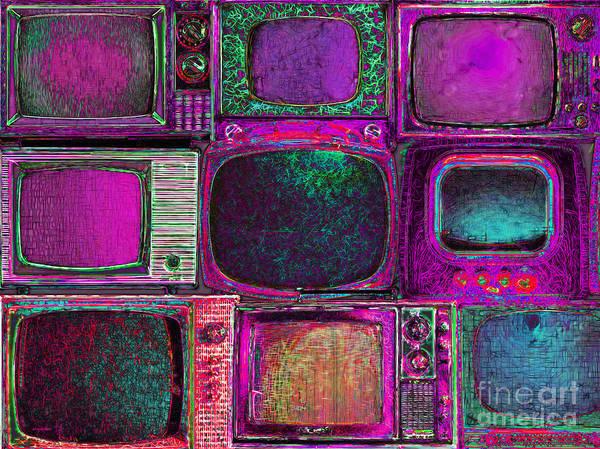 Crt Digital Art - Retro Television Marathon 20150928m68 by Wingsdomain Art and Photography