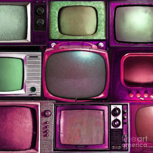 Crt Digital Art - Retro Television Marathon 20150928square V2 M68 by Wingsdomain Art and Photography