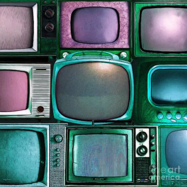 Crt Digital Art - Retro Television Marathon 20150928square V2 P138 by Wingsdomain Art and Photography