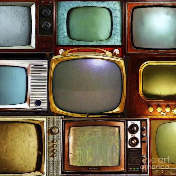 Crt Digital Art - Retro Television Marathon 20150928square V2 by Wingsdomain Art and Photography