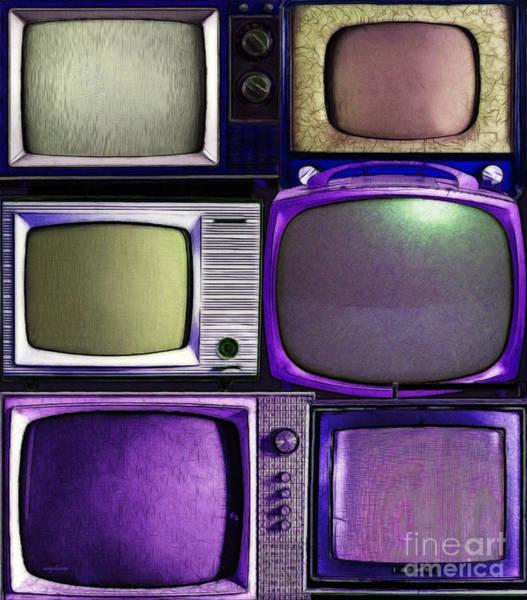 Crt Digital Art - Retro Television Marathon 20150928vertical V2 M128 by Wingsdomain Art and Photography