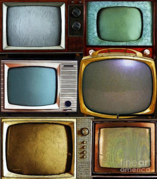 Crt Digital Art - Retro Television Marathon 20150928vertical V2  by Wingsdomain Art and Photography