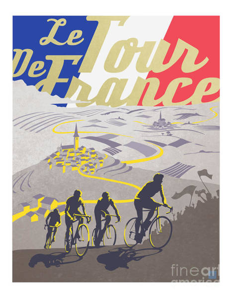 Vintage Poster Wall Art - Painting - Retro Tour De France by Sassan Filsoof