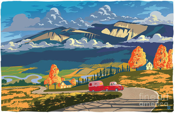 Camper Wall Art - Painting - Retro Travel Autumn Landscape by Sassan Filsoof