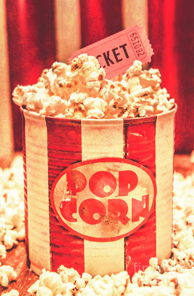 Entry Photograph - Retro Tub Of Butter Popcorn And Ticket Stub by Jorgo Photography - Wall Art Gallery