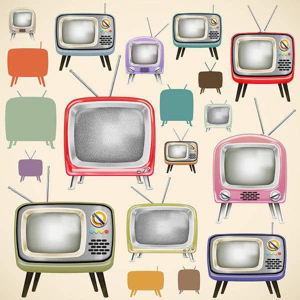 Screen Painting - retro TV pattern  by Setsiri Silapasuwanchai