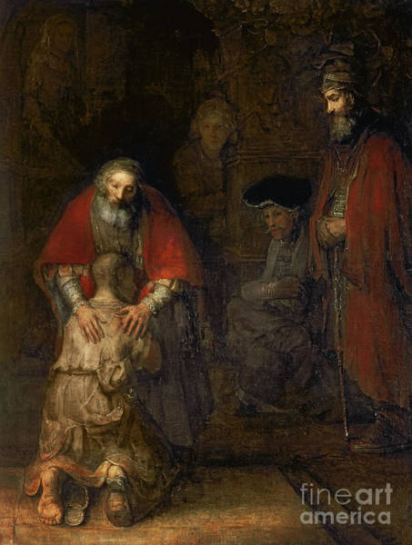 Kneeling Painting - Return Of The Prodigal Son by Rembrandt Harmenszoon van Rijn