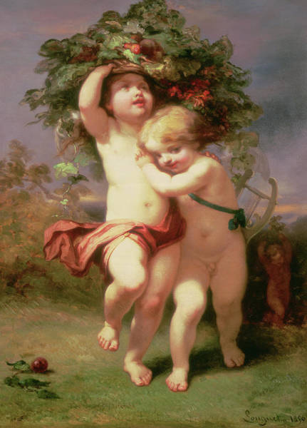 Putto Painting - Returning Before The Storm, 1850 by Alexandre Marie Longuet