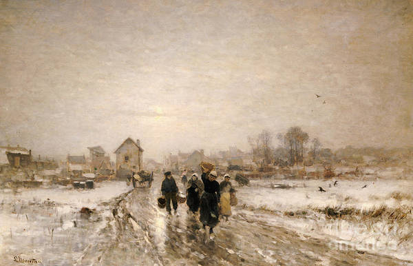 Norwegian Painting - Returning From Market by Ludwig Munthe