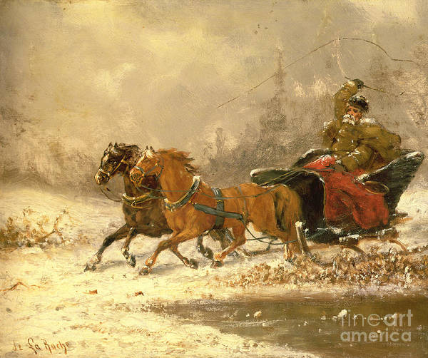 Sleigh Wall Art - Painting - Returning Home In Winter by Charles Ferdinand De La Roche