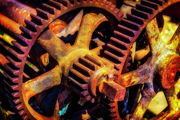 Deterioration Photograph - Reusting Gears In Train Yard by Garry Gay