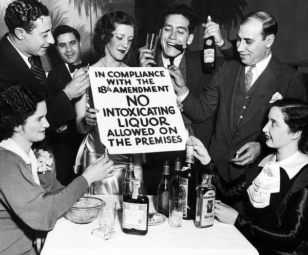 Drunk Photograph - Revelers Burn Prohibition Sign  C. 1925 by Daniel Hagerman
