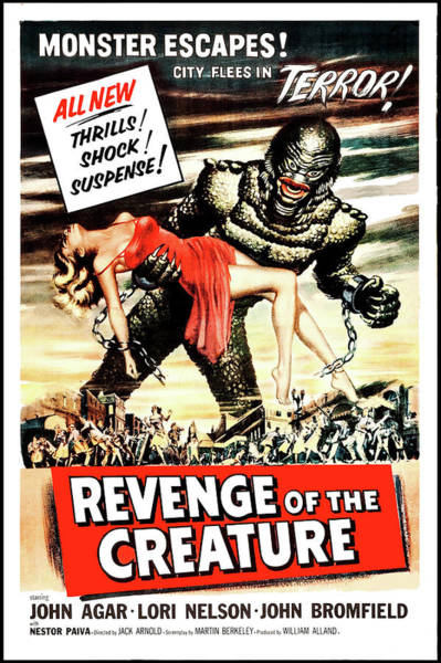 Horror Film Painting - Revenge Of The Creature, Horror Movie Poster by Long Shot