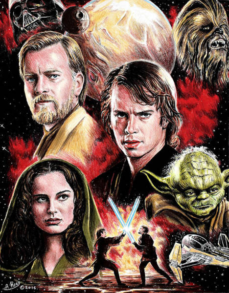 Star Wars 3 Wall Art - Painting - Revenge Of The Sith Edit by Andrew Read
