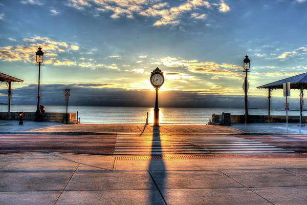 Photograph - Revere Beach Clock At Sunrise Long Shadow Revere Ma by Toby McGuire