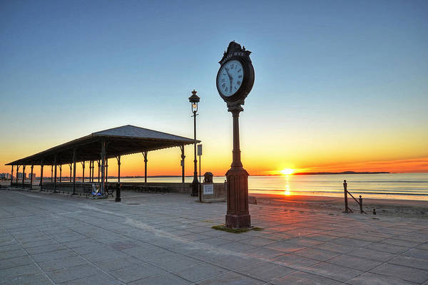 Photograph - Revere Beach Clock At Sunrise Revere Ma by Toby McGuire