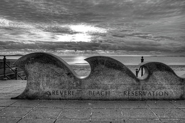 Photograph - Revere Beach Reservation Wave Sculpture Revere Ma Black And White by Toby McGuire
