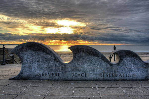 Photograph - Revere Beach Reservation Wave Sculpture Revere Ma by Toby McGuire