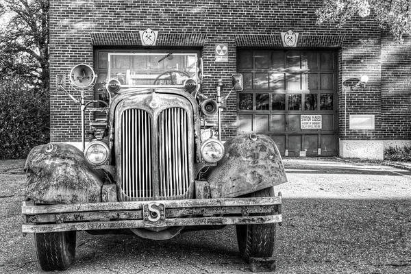 Photograph - Revere Fire Station Revere Ma In Autumn Fire Truck Black And White by Toby McGuire