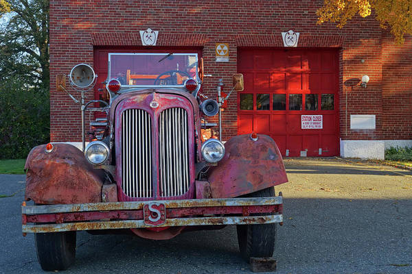 Photograph - Revere Fire Station Revere Ma In Autumn Fire Truck Close by Toby McGuire