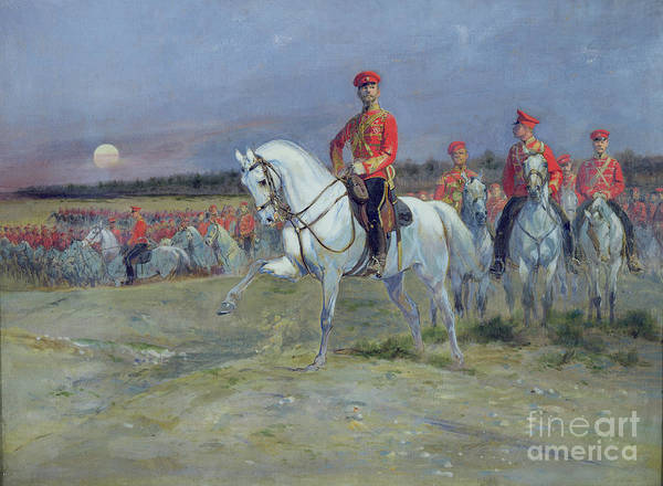 Revue Wall Art - Painting - Reviewing The Troops by Jean Baptiste Edouard Detaille
