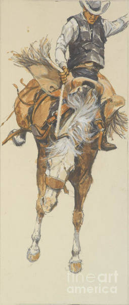Wall Art - Painting - Revised Bucking Horse by Don Langeneckert