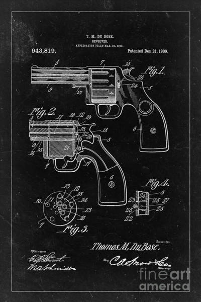 Revolver Photograph - Revolver Patent From 1909 - Black by Delphimages Photo Creations