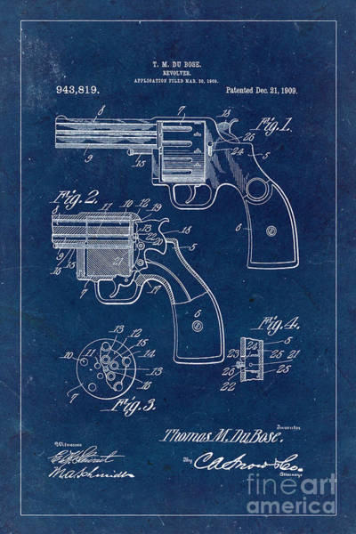 Revolver Photograph - Revolver Patent From 1909 - Blue by Delphimages Photo Creations