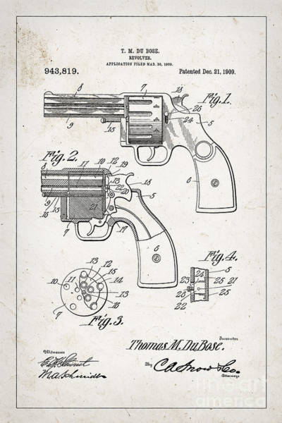 Revolver Photograph - Revolver Patent From 1909 by Delphimages Photo Creations