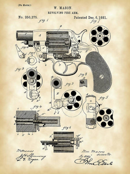 Antique Firearms Wall Art - Digital Art - Revolving Fire Arm Patent 1881 - Vintage by Stephen Younts