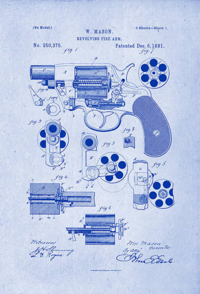 Artful Drawing - Revolving Fire Arm Patent Drawing 1881 Blueprint Inverse by Patently Artful
