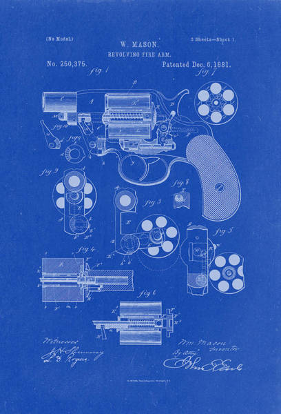 Artful Drawing - Revolving Fire Arm Patent Drawing 1881 Blueprint by Patently Artful