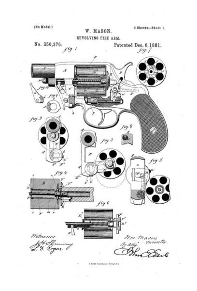 Artful Drawing - Revolving Fire Arm Patent Drawing 1881 Bw by Patently Artful
