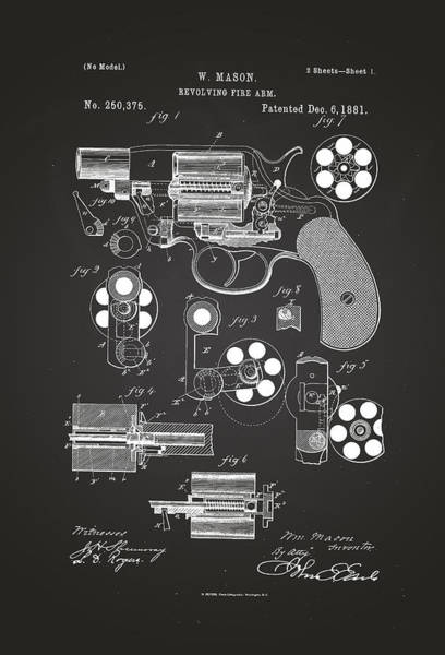 Artful Drawing - Revolving Fire Arm Patent Drawing 1881 Chalkboard by Patently Artful
