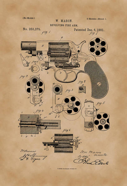Artful Drawing - Revolving Fire Arm Patent Drawing 1881 Vintage by Patently Artful