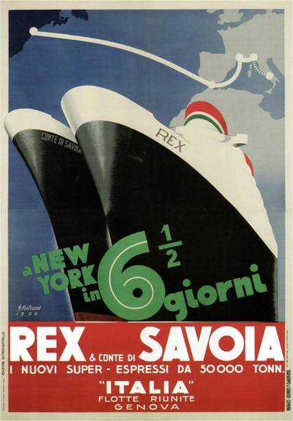 1900s Wall Art - Painting - Rex, Conte Di Savoia - Italian Ocean Liners To New York - Vintage Travel Advertising Posters by Studio Grafiikka