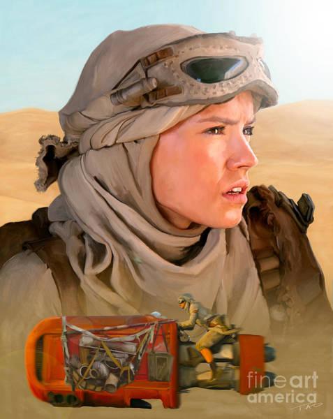 Star Wars Movie Painting - Rey by Paul Tagliamonte