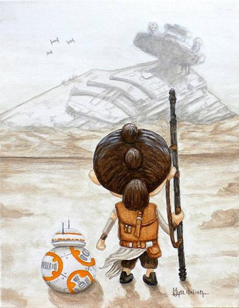 Star Painting - Rey With Bb8 by Al  Molina