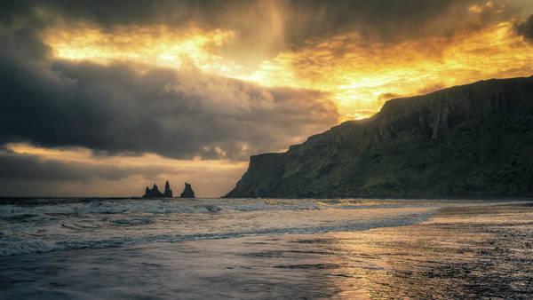 Photograph - Reynisdrangar Sunset by James Billings