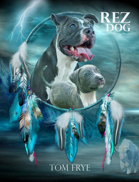 Native Mixed Media - Rez Dog Cover Art by Carol Cavalaris