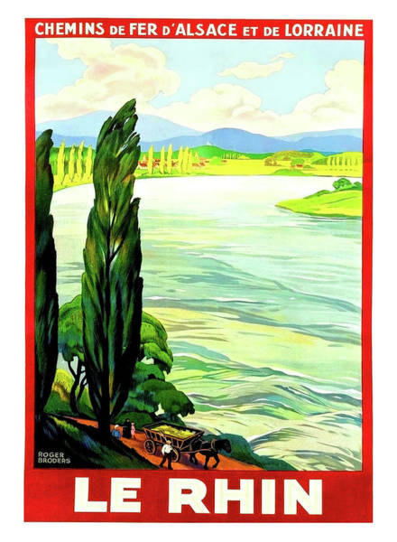 Rhine River Wall Art - Painting - Rhine River, Alsace, France by Long Shot