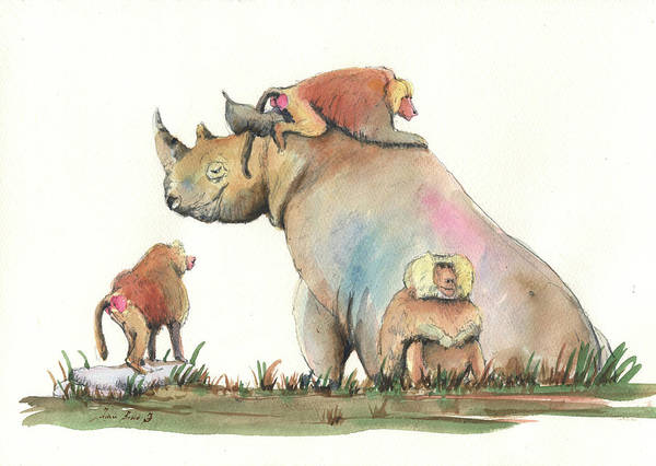 Wall Art - Painting - Rhino And Baboons by Juan Bosco